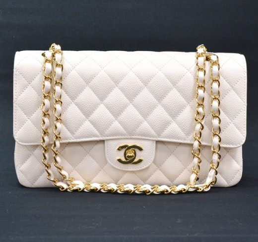 766545f4af75 Chanel Chanel White Caviar Leather 2.55 10
