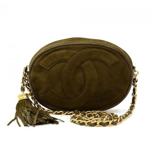 c1379b8a4cb6 Chanel Vintage Chanel Small Green Suede Leather Fringe Shoulder Bag