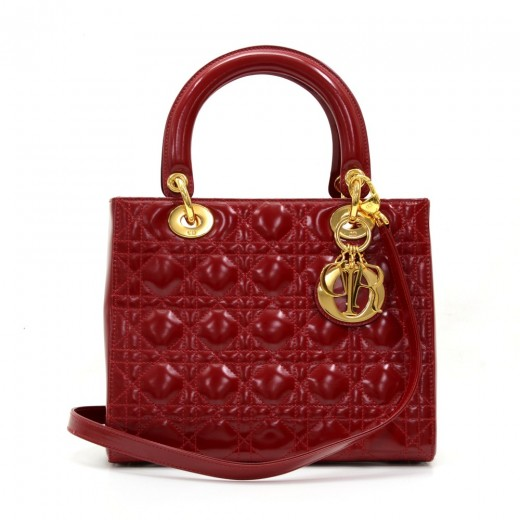 Christian Dior Lady Dior 10inch Red Quilted Patent Leather Hand Bag + Strap 3bf71df7dc06a