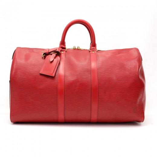 2788f2b283a6 Louis Vuitton Louis Vuitton Keepall 45 Red Epi Leather Travel Bag