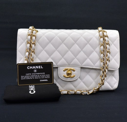 5a98f9a3c6bf Chanel Chanel White Caviar Quilted Leather 2.55 10