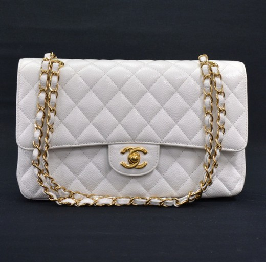 daa7aa45ae372f Chanel Chanel White Caviar Quilted Leather 2.55 10