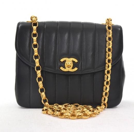 1417f3786d7bcb Chanel Vintage Chanel Black Vertical Stitch Leather Shoulder Bag with .