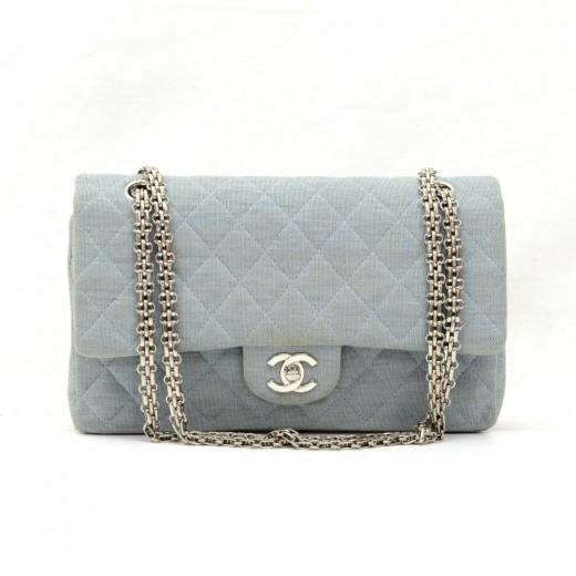 2751c01fea125b Chanel 2.55 10inch Double Flap Light Blue Quilted Cotton Shoulder Bag