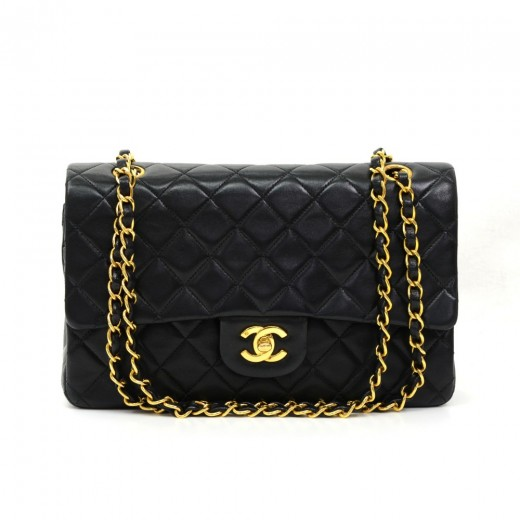 d08c5a46a5cc Chanel Chanel 2.55 Large Double Flap Black Quilted Leather Shoulder ...