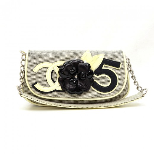 02f6e4c9afd9 Chanel Chanel Camellia No 5 Black x White Shoulder Party Bag