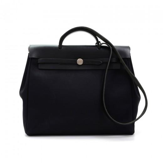 best place to buy hermes birkin - hermes herbag mm 2 in 1 black canvas leather shoulder hand bag ...