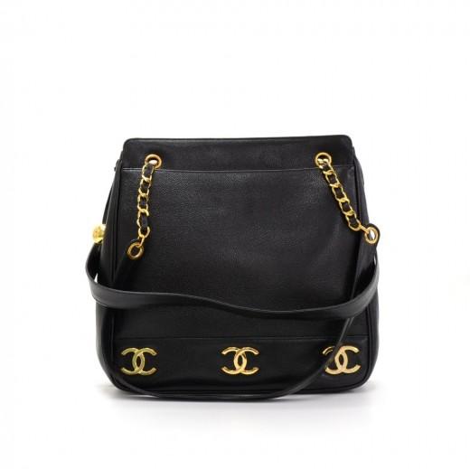 b2bfebfd49f8 Chanel Vintage Chanel Black Caviar Leather Large Tote Shoulder Bag