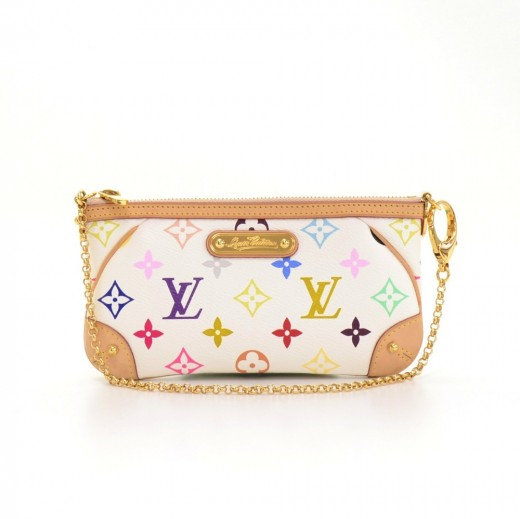 Louis Vuitton Milla Clutch MM White Multicolor Monogram Canvas Pouch Bag efb7cc990da50