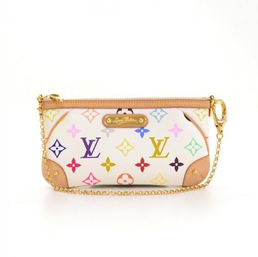 f83c3dc45b44 Louis Vuitton Milla Clutch MM White Multicolor Monogram Canvas Pouch Bag