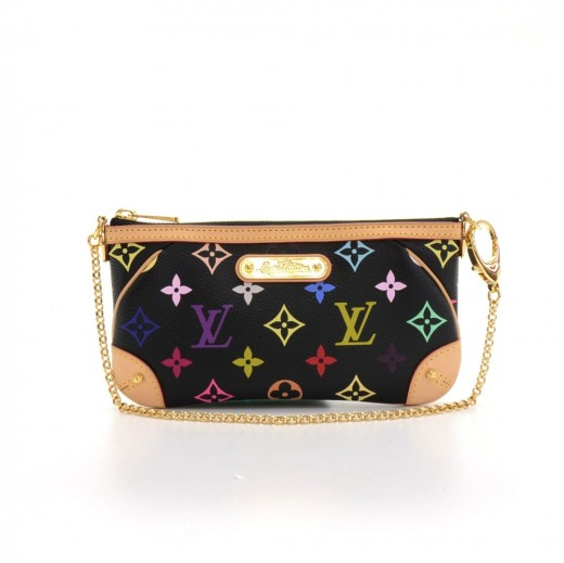 Louis Vuitton Milla Clutch MM Black Multicolor Monogram Canvas Pouch Bag e58b0e21cd6be