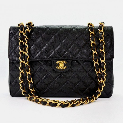 332b86cbb1b6 Chanel Chanel Black Caviar Quilted Leather Shoulder Jumbo Bag Gold ...