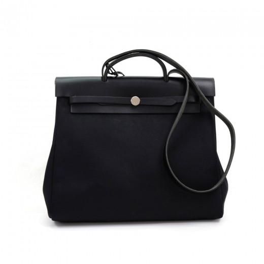 e30acf458 Hermes Hermes Herbag MM 2 in 1 Black Canvas Leather Shoulder Hand Bag