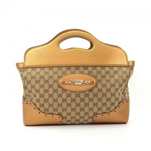 641143ba25c Gucci Gucci Metallic Gold Leather Monogram Canvas Tote Handbag