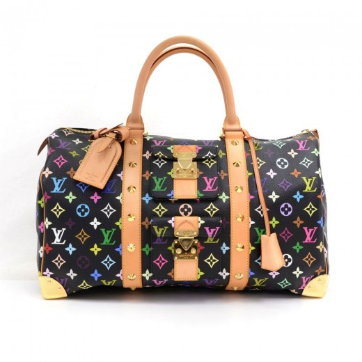 6619411a61b0 Louis Vuitton Keepall 45 Black Multicolor Monogram Canvas Duffle Travel Bag