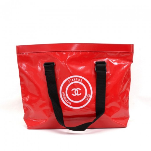 5e79abe044 Chanel Chanel Red Waterproof XLarge Beach Tote Hand Bag