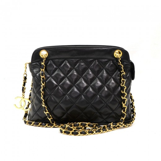 0c64f1bae5c5 Vintage Chanel Black Quilted Lambskin Leather Tote Shoulder Bag CC Charm