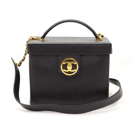 f2ce0e0098d1 Vintage Chanel Vanity Black Caviar Leather Medium Cosmetic Handbag + Strap