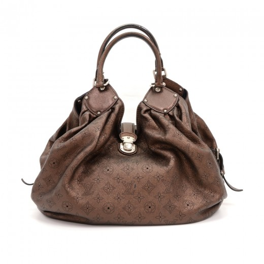 d84827c33578 Louis Vuitton Chocolate Brown Mahina Leather L Tote Hand Bag Silver Hardware