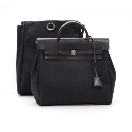 hermes messenger bags - Hermes Hermes Herbag Ado 2 in 1 Black Canvas Leather Backpack Bag