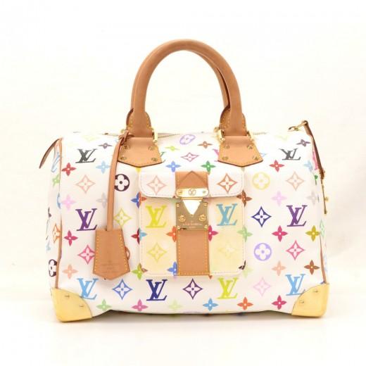 97d94b5cf558 Louis Vuitton Speedy 30 White Multicolor Monogram Canvas City Hand Bag