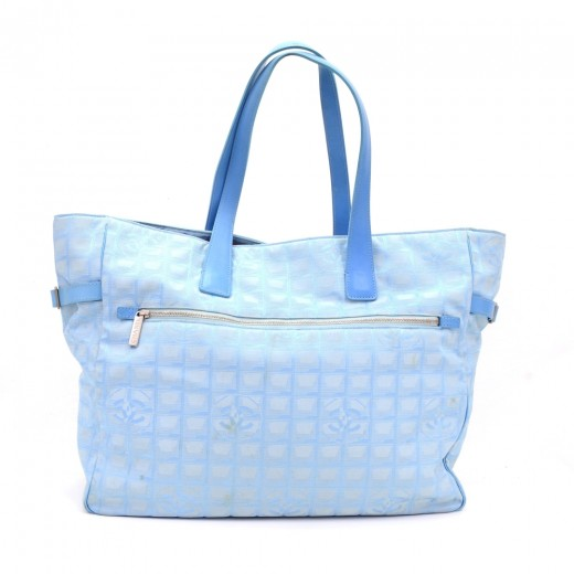 bea30ed64d617b Chanel Chanel Travel Line Light Blue Jacquard Nylon XL Tote Bag