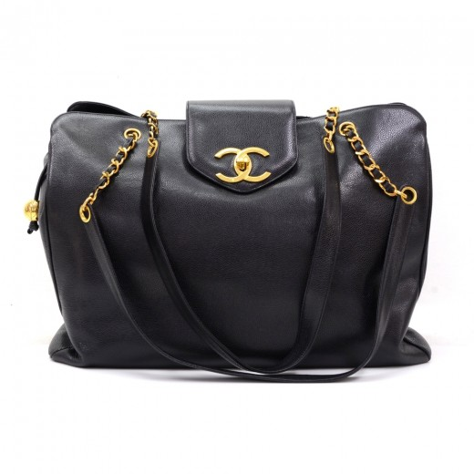 109f45301f23 Chanel Vintage Chanel Supermodel XL Black Caviar Leather Shoulder ...
