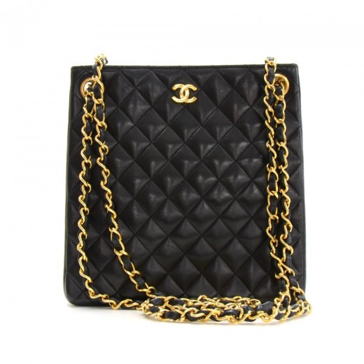 7e3ad7a17475 Chanel Chanel Black Quilted Leather Small Tote Bag