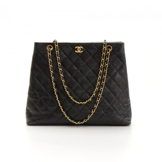 e0324f463185 Chanel Chanel Black Quilted Caviar Leather Large Shoulder Tote Bag
