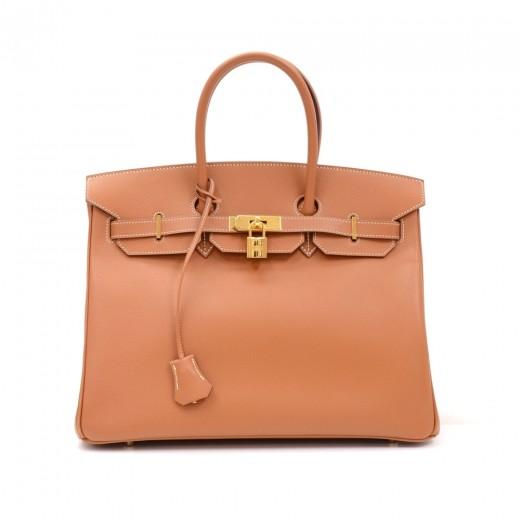d87a2f89a2 Hermes Birkin 35cm Camel Brown Veau Grain Lisse Leather Gold Tone Hardware  Hand Bag