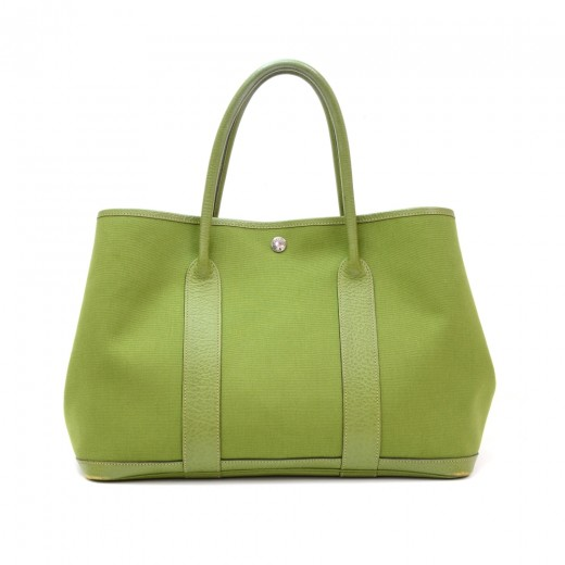 chinese sandals hoax - Hermes Hermes Garden Party Green Canvas Leather Hand Bag