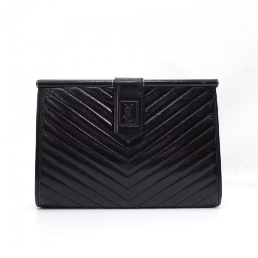 e5cbc25237 Others Yves Saint Laurent Black Quilted Leather Clutch Bag