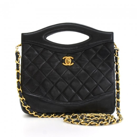 a8ccc8e67b245c Chanel Vintage Chanel Black Quilted Leather 2 Way Shoulder Small ...