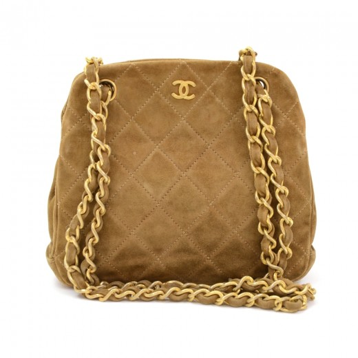 a1f8625130b4ec Chanel Vintage Chanel Dark Brown Quilted Suede Leather Mini Shoulder ...