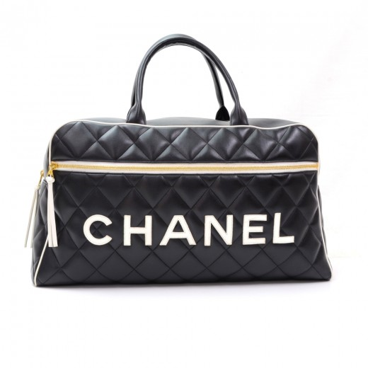 df29a15fc12f Chanel Vintage Chanel Black x White Quilted Leather Boston Travel Bag