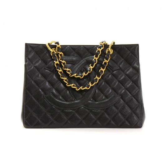 ce732ef94641 Chanel Chanel GST Black Quilted Caviar Leather Large Grand Shopping ...