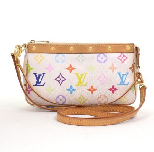 2879ec7dff1d Louis Vuitton White Multicolor Monogram Canvas Pochette Accessories Bag  with shoulder strap. Condition  Great   SKU  LB065. Tap to zoom