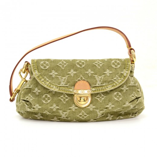 Louis Vuitton Mini Pleaty Green Monogram Denim Shoulder