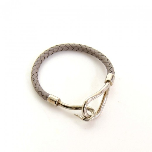 hermes leather x silver tone hook jumbo bracelet