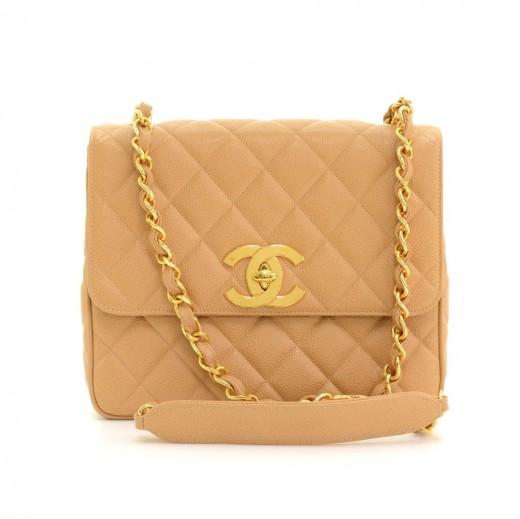 a97679462988 Chanel Vintage Beige Quilted Caviar Leather Shoulder Flap Bag Large CC Logo