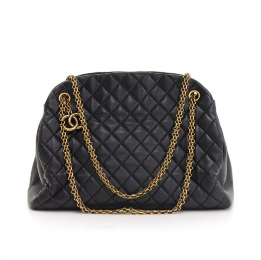 56fe095112559e Chanel Just Mademoiselle Black Quilted Leather Shoulder Bowling Bag