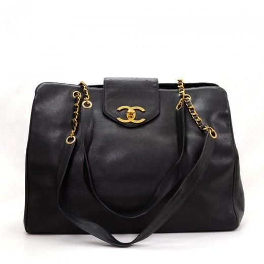 b0c30d449747 Chanel Chanel XL Supermodel Black Caviar Leather Shoulder Tote Bag
