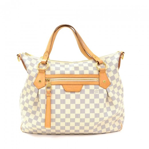 ffbf9ca1da18 Louis Vuitton Louis Vuitton Evora MM White Damier Azur Canvas Large ...