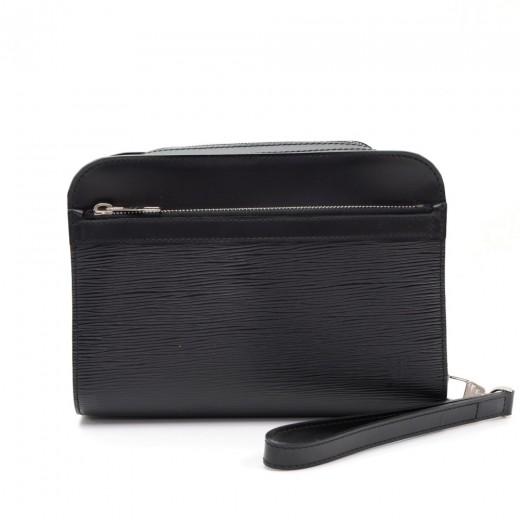 f54d88f81b3e Louis Vuitton Hoche Black Epi Leather Wristlet Clutch Men Bag