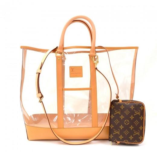 c70a75d070ba Louis Vuitton Isaac Mizrahi Clear VInyl x Leather Limited Tote Bag +  Monogram Canvas Pouch