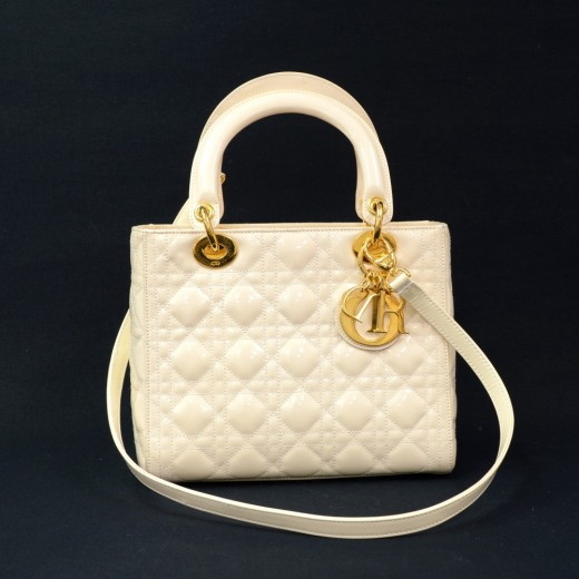 Christian Dior Lady Dior 10inch Off White Quilted Cannage Patent Leather  Hand Bag + Strap 2256b9ca4d4f4