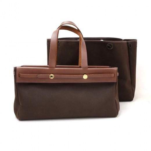 d92ee1f60bb4 Hermes Hermes Herbag Cabas Dark Brown Canvas Leather Tote Bag