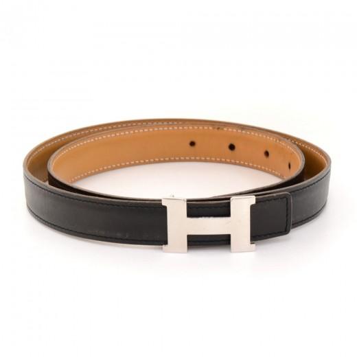 Hermes Hermes Beige x Black Leather x Silver Tone H Buckle Belt ...
