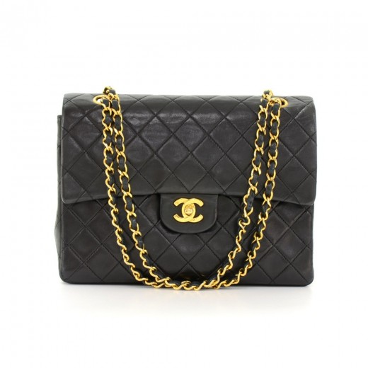 3aa468b3eff2 Vintage Chanel 2.55 10inch Tall Double Flap Black Quilted Leather Shoulder  Bag