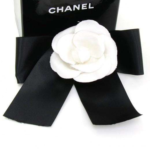 Chanel chanel black ribbon x white camellia flower brooch pin mightylinksfo